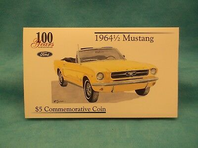 100 Years of Ford-1964 1/2 Mustang Convertible-$5 Commemorative Coin-1996