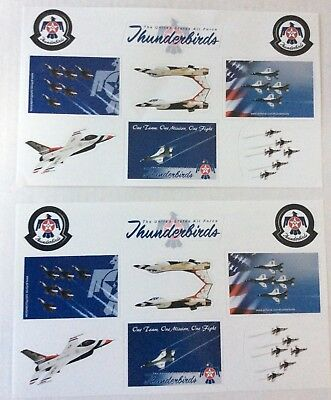 2 USAF Air Force Thunderbirds Sticker Sheets With 9 Stickers Each