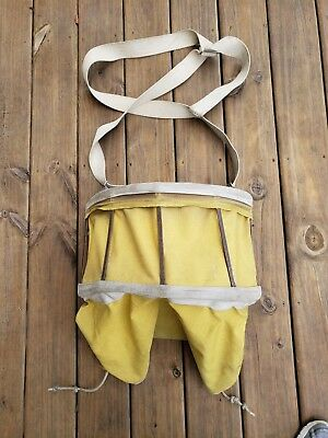 Vintage Apple Orchard Fruit Picking Bag Canvass Metal Frame Shoulder Harness