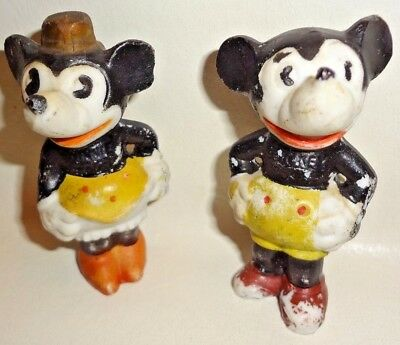 """VINTAGE ANTIQUE 1930s PAINTED BISQUE MICKEY AND MINNIE MOUSE FIGURINES 2.75"""""""