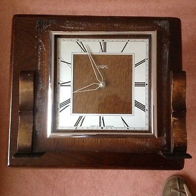 Smiths 8 day vintage wooden wind-up oak mantle clock