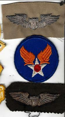 RARE WW2  AAC /Air Force bullion Pilot wings -2 types, and Air Corps patch