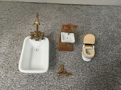 Sylvanian Families Vintage Ceramic Bathroom Set, Bath, Sink and Toilet