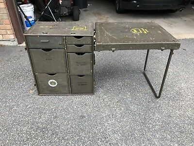 Vintage US Military Wooden Field Desk Army Navy 1970s War Folds Up