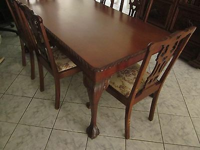 Antique Dining Setting, Solid Cedar, Ball and Claw Feet, Original Tapestry