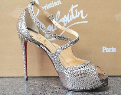half off d6861 6942c NIB CHRISTIAN LOUBOUTIN MIRABELLA 120 KID LAME SILVER PLATFORM Sandals  Shoes 37