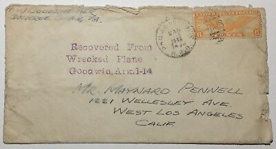 Crash Cover Wrecked Airplane Goodwin Arkansas 1936 Recovery Cachet in Purple