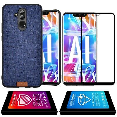 Cover Case Jeans Effect + Tempered Glass Curved 3D Edge Huawei Mate 20 Lite Blue