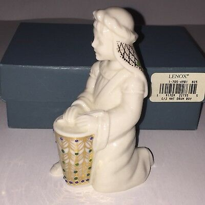 Lenox China Jewels Nativity  Drummer Boy 1995 USA Teal Box