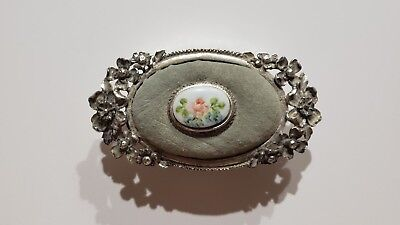 Vintage Florenza Silver Sewing Pin Cushion Trinket Box With Velvet Top