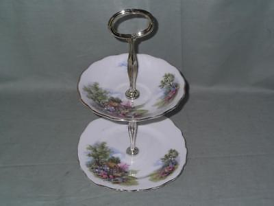 Royal Vale Cottage Garden Bone China Small 2-Tier Biscuit Cake Plate Stand