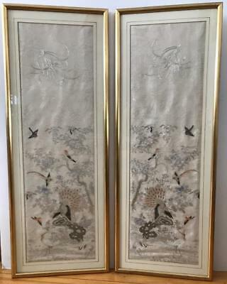 Antique 18th/19th Century Chinese Silk Embroidery Peacock Birds Pair Framed