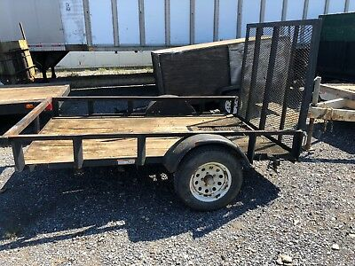 6'x8' Single Axle Tag Along Trailer Equipment With Mesh Loading Rear Ramps