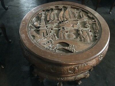 Hand Carved Antique Table With Stools