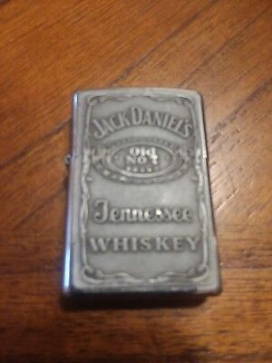 Jack Daniels Zippo Polished Chrome Lighter With Pewter USA not china !!!