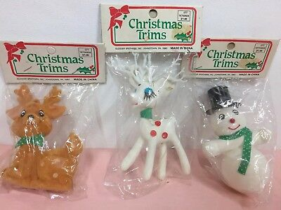 Set Of 3 Christmas Trim Vintage Flocked Deer & Snowman Ornaments New