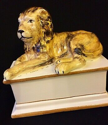 Antique Ceramic Ancient Roman Guardian Lion On Pedestal Statue Signed By Artist