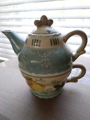 Tracy Porter - Hand painted Teapot with Lid and Cup - Tea for One Vintage Pear