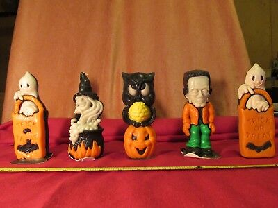 VINTAGE Lot of 5 HALLOWEEN GURLY CANDLES Ghost Witch Owl Frankenstein USA MADE!