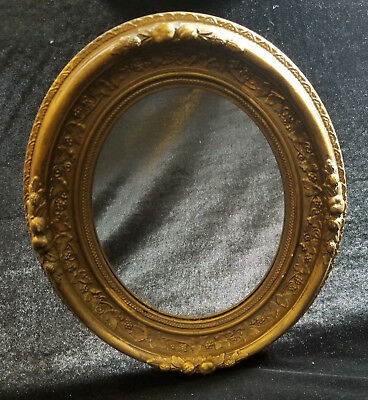 "14"" Victorian Wall Mirror Ornate Wood Gold Vintage Oval Antique New Glass!"