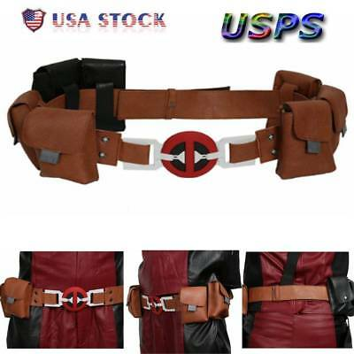 Movie Deadpool2Belt Leather with 6 pockets For Cosplay Halloween Accessory Props