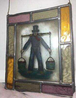 Victorian  Leaded Stained Glass Window With Image Of Man With Water Bucket