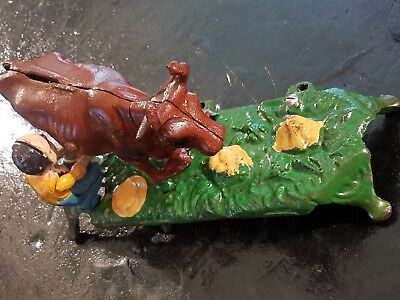 Vintage Cast Metal Mechanical Bank Book Of Knowledge Farmer Milking Cow