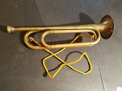 Antique Brass Bugle Rexcraft US Regulation Vintage Military W/Mouthpiece 1930's