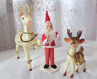 Vintage Christmas Figures Santa Deer Japan