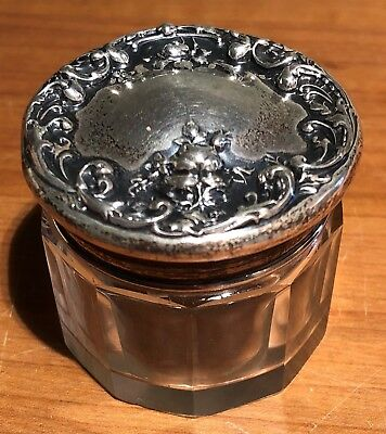 F&b Sterling Silver Capped Glass Vanity Jar