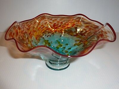 Stunning Art Glass Bowl, Multicolor Splatter Design, Signed