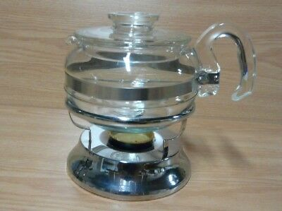 Vintage Pyrex Flameware 8446 B - 6 Cup Tea Pot with Lid & Candle Warmer - USA