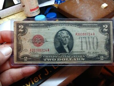 Series of 1928 $2 Two Dollar US Washington D.C. Red Seal Bank Note A38388714A