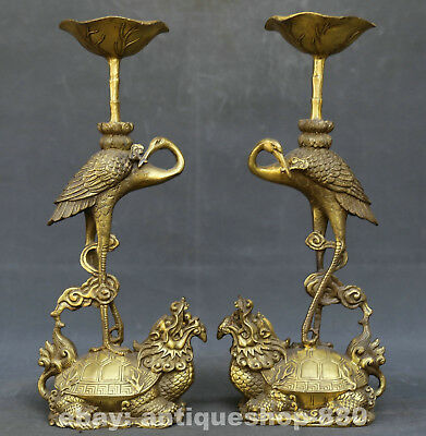 Chinese Bronze Animal Crane Dragon Turtle Candle Holder Candlestick Statue Pair