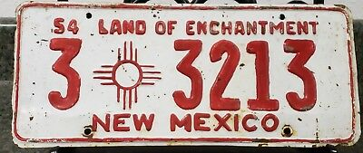 1954 New Mexico License Plate White and Red