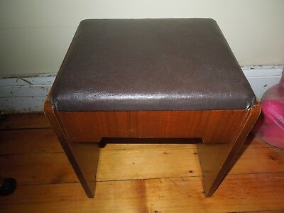Vtg Art Deco Wood Vanity Storage Bench Stool Sewing Machine Cabinet Piano Chair