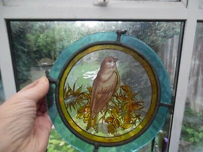 Victorian Stained Glass Bird Roundel