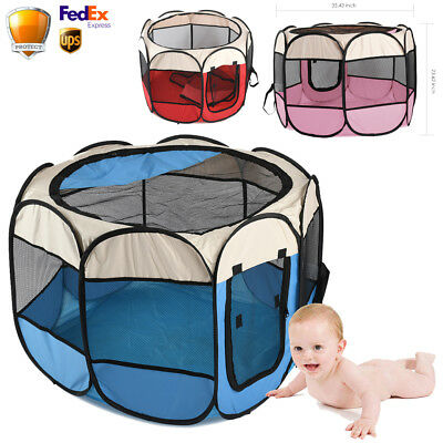Baby Play Tents Folding Portable Playpen Yard Travel Indoor Outdoor Safety Mesh