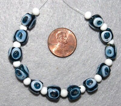 Antique Evil Eye Beads Glass Near Eastern Wide Hole