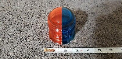 2 pc Vintage Airport Runway Taxiway Light Red & Blue Glass Lens taxi navigation