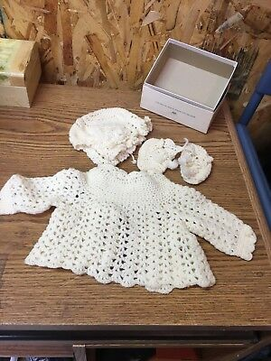 Vintage Hand Crocheted Baby Gift Set White Sweater; Booties; Cap Bonnet Hat CUTE