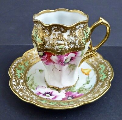 Antique RC Nippon Noritake Chocolate Cup & Saucer, Art Nouveau, Hand Painted