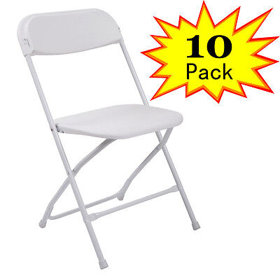 10 Plastic Folding Chairs Banquet Wedding Seat Premium Party Event Chair White
