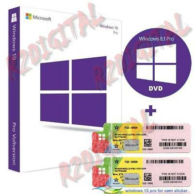 Windows 10 Profi Sp1 Dvd Klebstoff Coa Sticker Win Pro Packung Seven 32 64