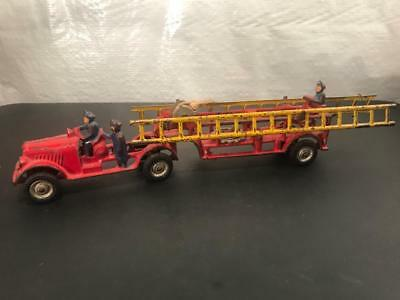 1930's Arcade Cast Iron Articulated Fire Trailer Truck Toy, Front & Rear Drivers