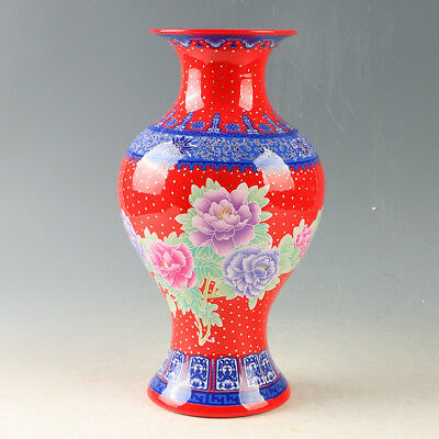 Chinese Porcelain Hand-Painted Flowers  Vase W Qianlong Mark