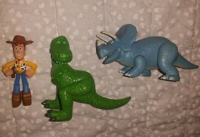 "Trixie & Rex Disney Toy Story Triceratops Dinosaurs 4.25"" PVC Action Figures Lot"