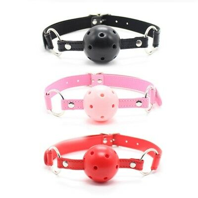 Adjustable Faux Leather Mouth Gag Love Toy Holes Mouth Ball Gag for Adult