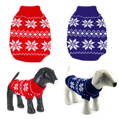 Dog Pet Sweater Clothes Snowflake Puppy Knit Coat Outwear Apparel Small/Large US