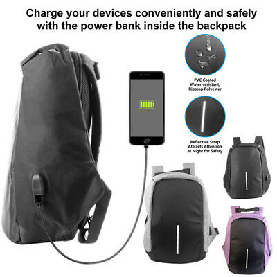 Unisex Waterproof Anti-theft Backpack Laptop Travel Bag With USB Charging Port